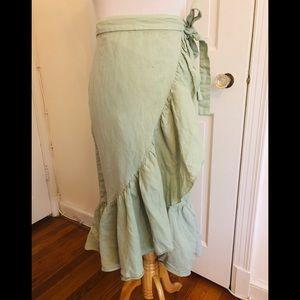 ZARA: ruffled, midi skirt, wrap, small, linen
